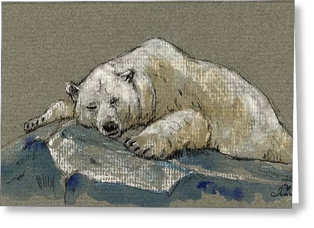Polar Bear Sleeping Greeting Card by Juan  Bosco