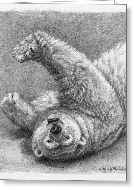 Polar Bear Stretch Greeting Card by Svetlana Ledneva-Schukina