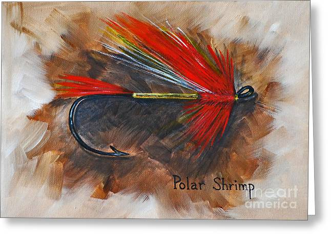 Greeting Card featuring the painting Polar Shrimp Fishing Fly by Cynthia Lagoudakis