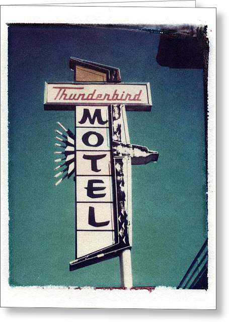 Polaroid Transfer Motel Greeting Card by Jane Linders