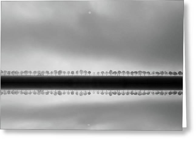 Polderlandscape In Reflection Greeting Card