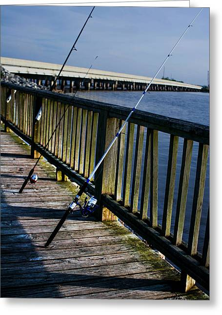 Poles On The Pier Greeting Card by Mechala  Matthews