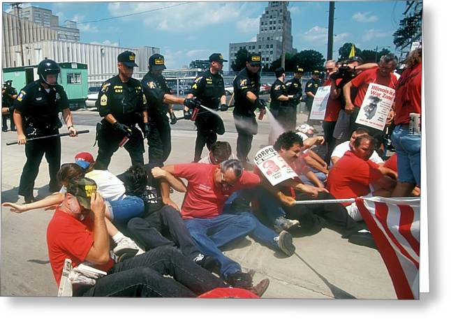 Police And Demonstrators Greeting Card by Jim West