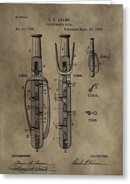 Police Baton Patent Greeting Card by Dan Sproul