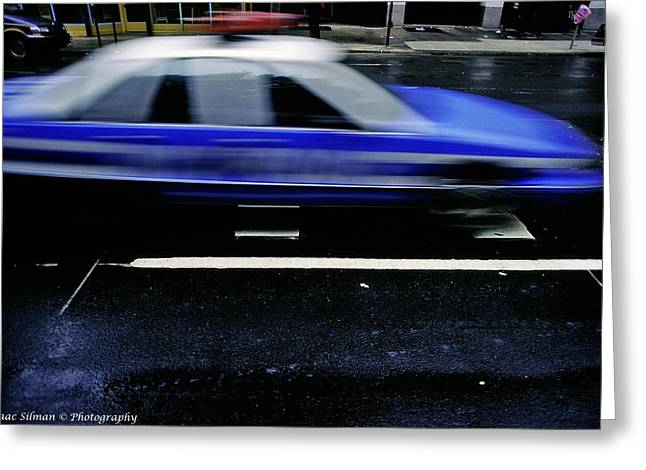 Police Chase Greeting Card by Isaac Silman