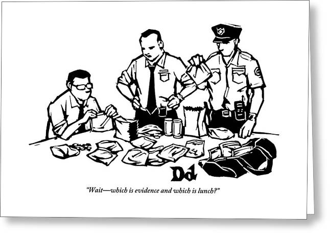 Police Detectives Search Through A Table Greeting Card