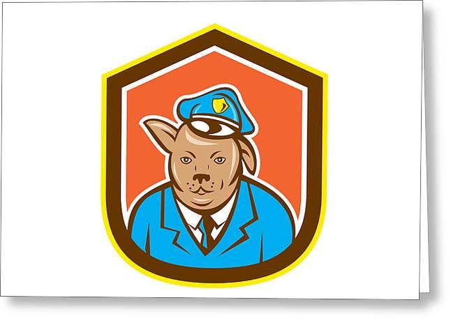 Police Dog Canine Shield Cartoon Greeting Card by Aloysius Patrimonio