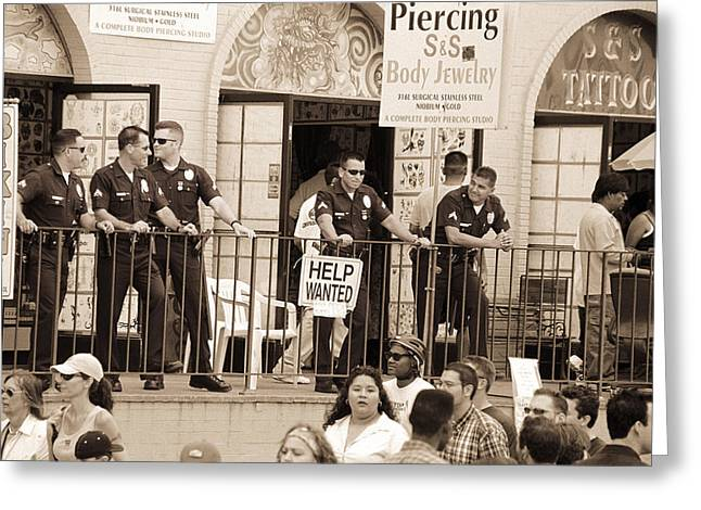 Police Gathered Behind A Help Wanted Sign, 2004 Bw Photo Greeting Card by Stephen Spiller