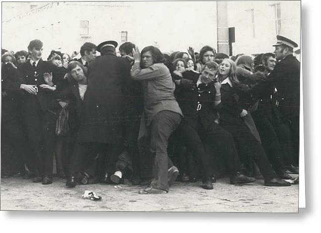Police Hold Back Screaming Fans Trying To Get Tickets Greeting Card by Retro Images Archive