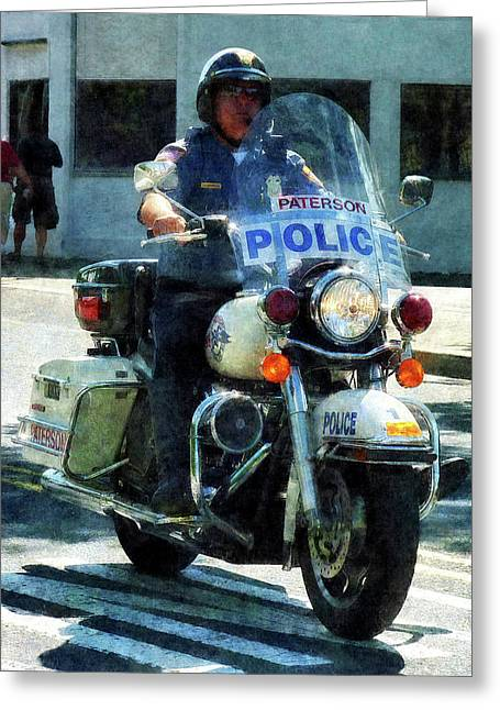 Police - Motorcycle Cop Greeting Card by Susan Savad