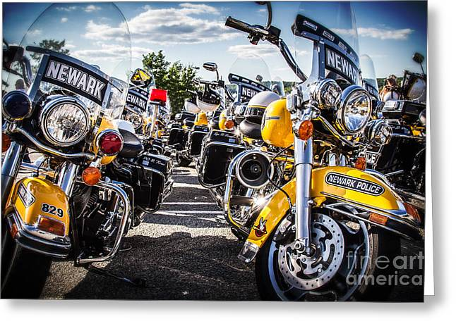 Greeting Card featuring the photograph Police Motorcycle Lineup by Eleanor Abramson