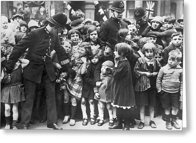 Police Restraining Children Greeting Card