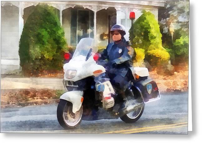 Police - Suburban Motorcycle Cop Greeting Card