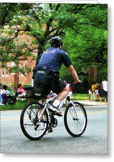 Policeman - Police Bicycle Patrol Greeting Card by Susan Savad