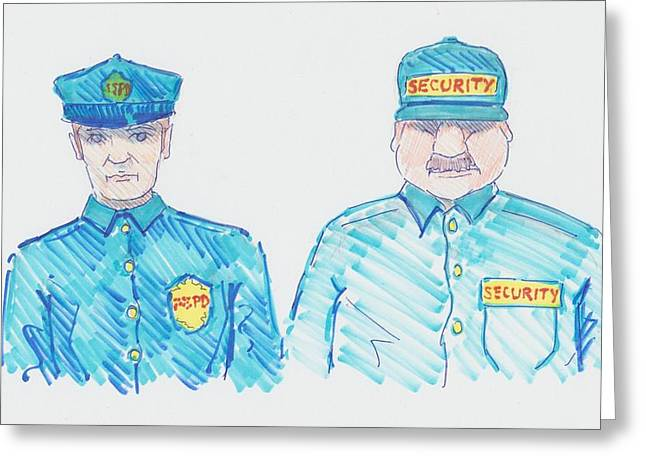 Policeman Security Guard Cartoon Greeting Card by Mike Jory