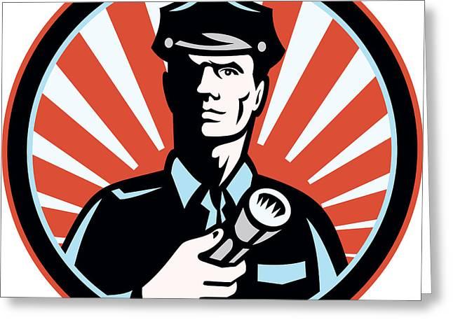 Policeman Security Guard With Flashlight Retro Greeting Card by Aloysius Patrimonio