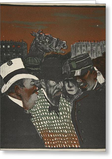 Policeman Talking With Men Greeting Card by Georges d' Ostoya