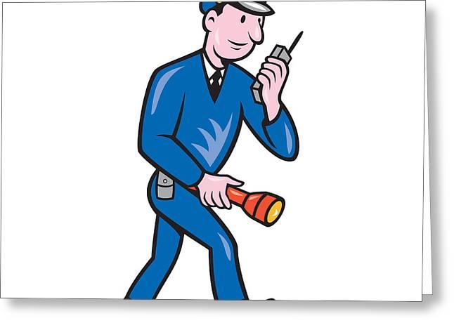 Policeman Torch Radio Cartoon Greeting Card