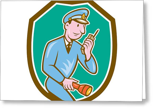 Policeman Torch Radio Shield Cartoon Greeting Card