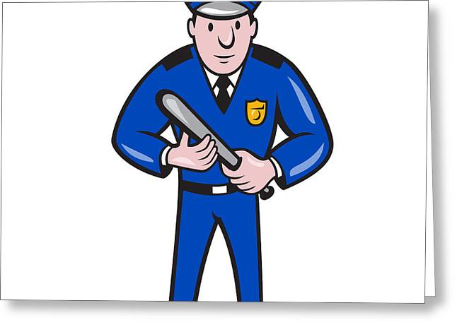 Policeman With Night Stick Baton Standing Greeting Card