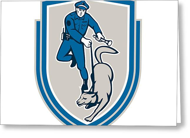 Policeman With Police Dog Canine Crest Retro Greeting Card