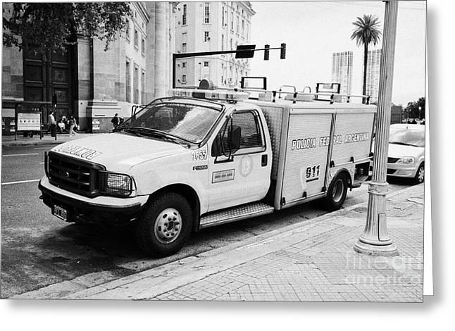 policia federal argentina bomberos federal police fire vehicle Buenos Aires Argentina Greeting Card by Joe Fox
