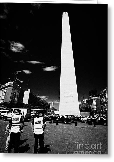 policia federal argentina federal police officers on duty talking to people in downtown Buenos Aires Greeting Card by Joe Fox