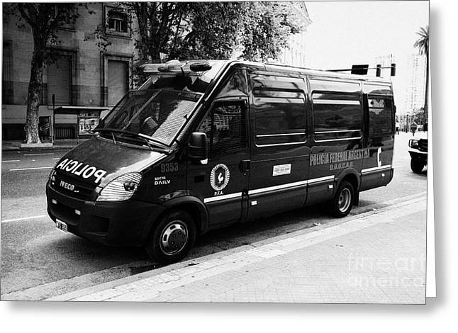policia federal argentina federal police riot control doucad vehicle Buenos Aires Argentina Greeting Card by Joe Fox