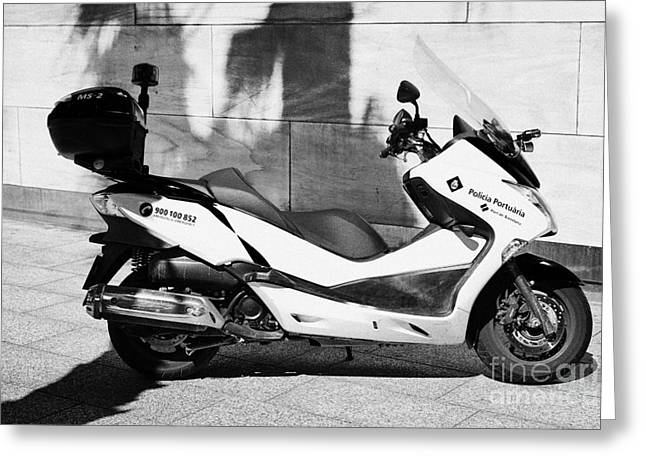 Policia Portuaria Port Police Moto Scooter Vehicle Port Of Barcelona Catalonia Spain Greeting Card by Joe Fox