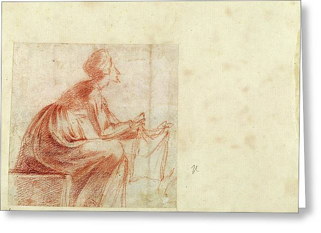 Polidoro Da Caravaggio, Woman Seated With A Piece Of Cloth Greeting Card
