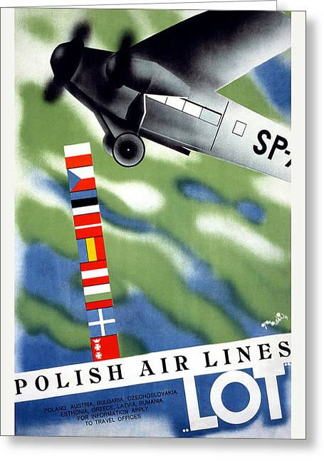 Polish Airlines Travel Poster Greeting Card by Unknown