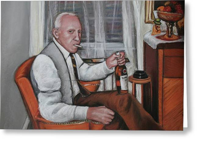Greeting Card featuring the painting Polish Grandfather by Melinda Saminski