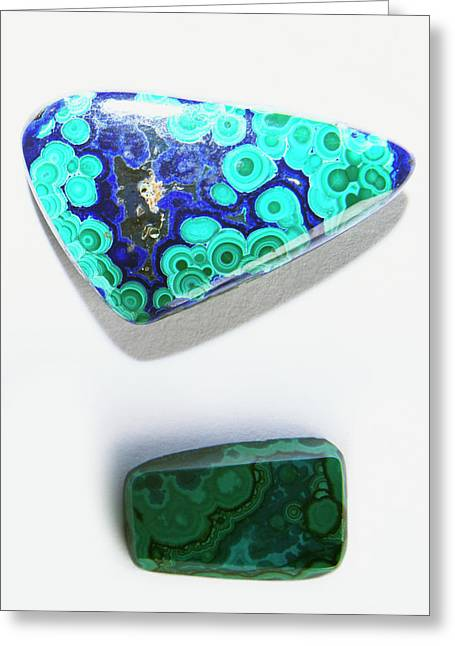 Polished Chrysocolla Cabochons Greeting Card