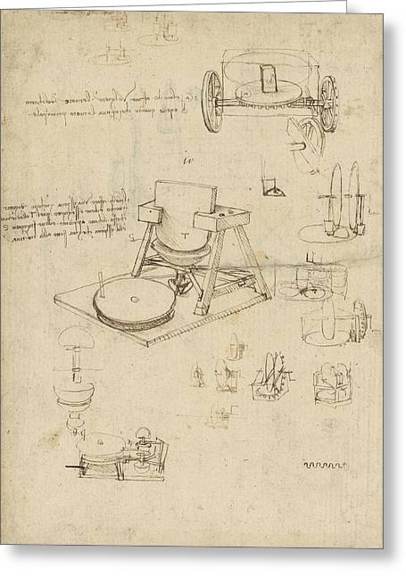 Polishing Machine Formed By Two Wheeled Carriage From Atlantic Codex Greeting Card by Leonardo Da Vinci