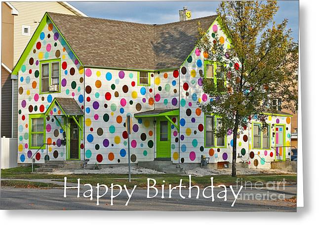 Polka Dot Happy Birthday Greeting Card by Steve Augustin