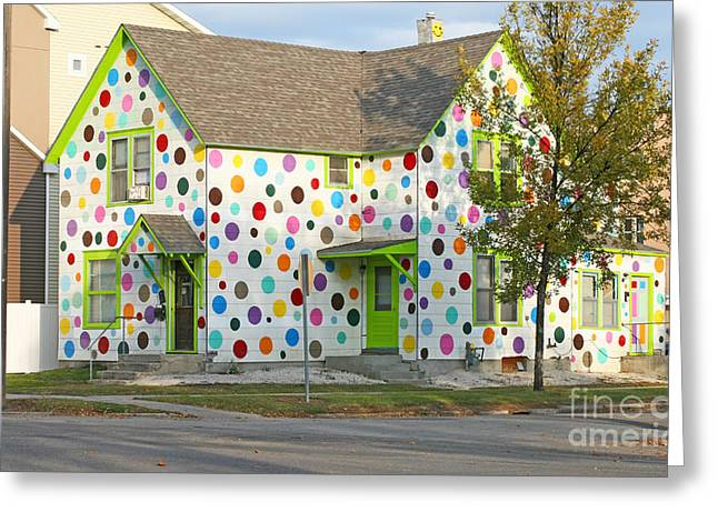 Polka Dot House Greeting Card by Steve Augustin
