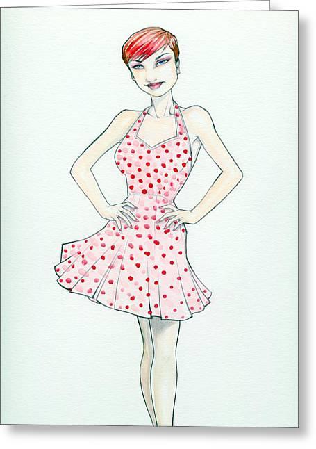 Polka Dot Pink Greeting Card
