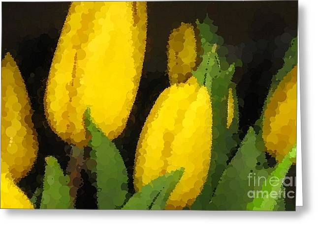 Polka Dot Yellow Tulips Greeting Card by Barbara Griffin