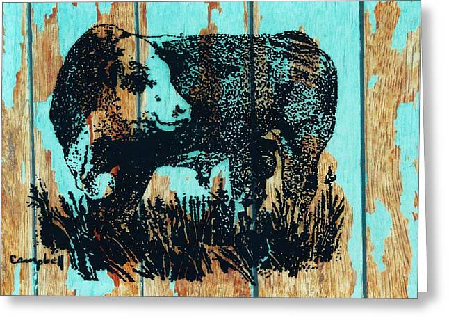Polled Hereford Bull 23 Greeting Card by Larry Campbell