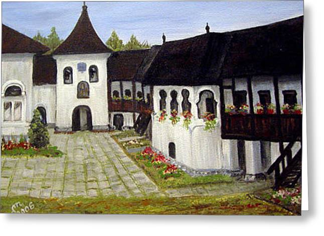 Greeting Card featuring the painting Polovragi Monastery Romania by Dorothy Maier