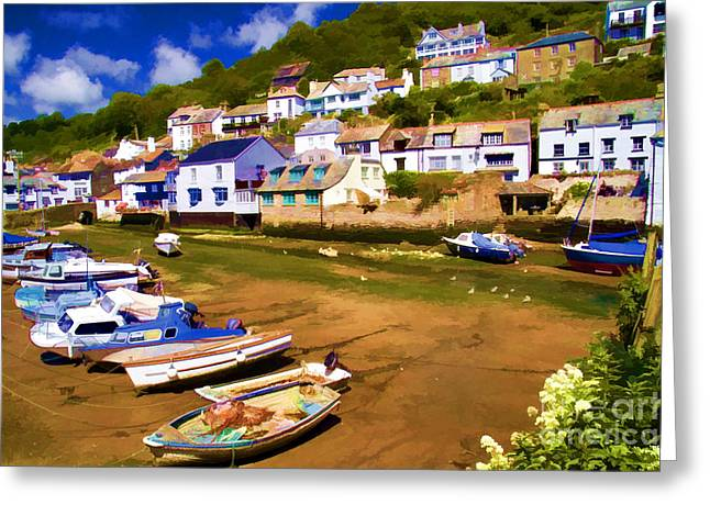 Polperro At Low Tide Greeting Card