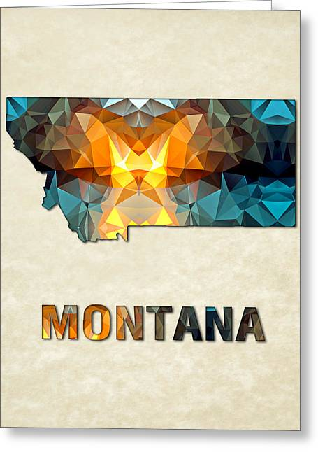 Polygon Mosaic Parchment Map Montana Greeting Card by Elaine Plesser