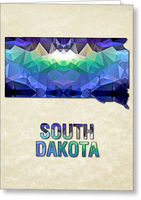 Polygon Mosaic Parchment Map South Dakota Greeting Card by Elaine Plesser