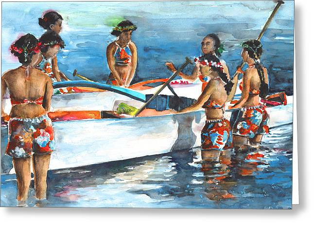 Polynesian Vahines Around Canoe Greeting Card by Miki De Goodaboom