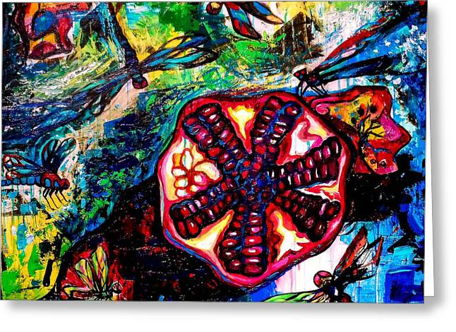Pomegranate And Six Dragonflies Greeting Card