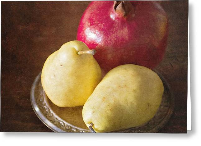 Pomegranate And Yellow Pear Still Life Greeting Card