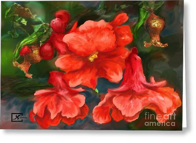 Pomegranate Blooms Floral Painting Greeting Card