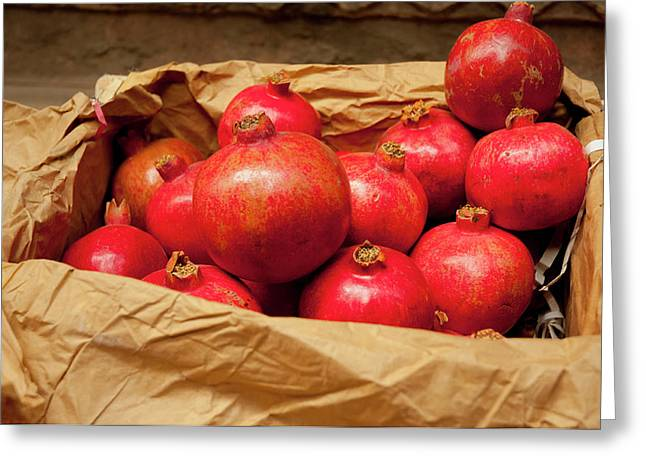 Pomegranates For Sale, Old Delhi Greeting Card by Inger Hogstrom