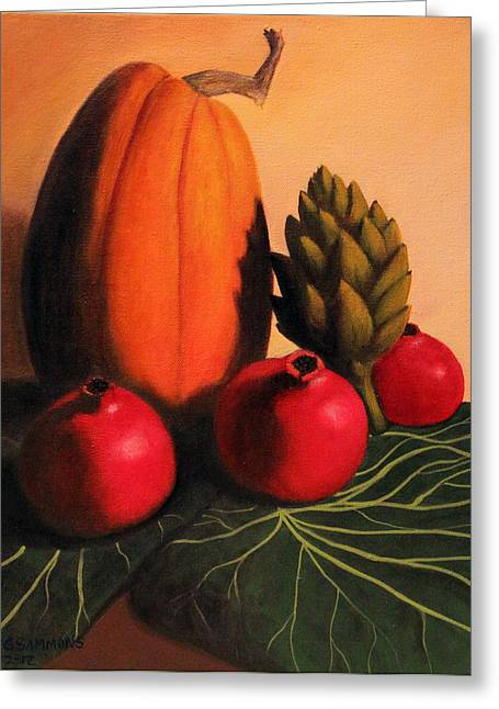 Greeting Card featuring the painting Pomegranates On Cabbage Leaves by Janet Greer Sammons
