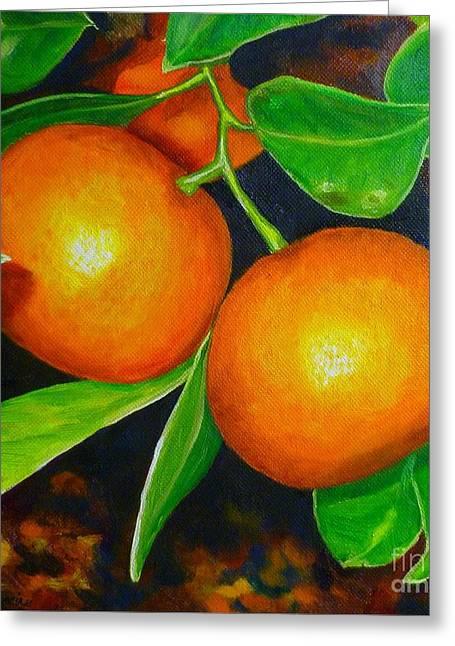 Pomelo Mandarin Greeting Card by Lorraine Fenlon